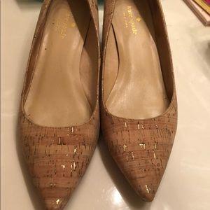 Kate Spade cork/gold block heels in box